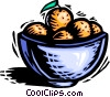 Bowl of oranges Vector Clip Art image