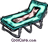 towel on a beach chair Vector Clipart picture