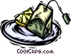 Vector Clipart graphic  of a tea bag on a saucer and a