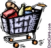 Grocery cart full of food Vector Clipart illustration