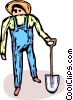 Vector Clipart graphic  of a farmer holding a shovel