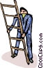 Vector Clip Art image  of a man with a ladder