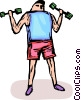 Vector Clipart illustration  of a person lifting weights