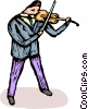 Vector Clipart graphic  of a person playing the violin