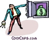 Vector Clip Art image  of a businessman with an open door