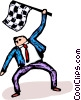 businessman with a checkered flag Vector Clipart graphic