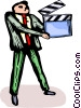businessman with a clapper board Vector Clipart graphic
