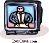 Vector Clip Art graphic  of a news anchor on television