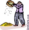 Vector Clip Art graphic  of a person dry panning for gold
