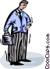 Vector Clip Art graphic  of a businessman looking at his