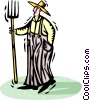 Vector Clipart graphic  of a Farmer with a pitchfork