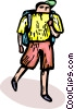 Person with a knapsack hiking Vector Clip Art picture