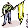 Vector Clip Art image  of a German man holding a flag