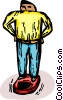 Vector Clip Art image  of a man standing on a weight scale