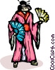 Vector Clip Art graphic  of a Japanese woman in a kimono