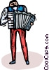 Vector Clip Art graphic  of an accordion player
