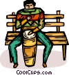 person on a park bench playing the bongos Vector Clipart illustration