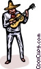Vector Clipart illustration  of a cowboy playing a guitar
