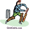 Vector Clipart picture  of a person playing cricket