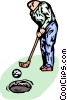 Vector Clip Art picture  of a golfer making a putt