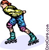 rollerblading Vector Clipart graphic