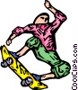 Vector Clipart illustration  of a person on a skateboard