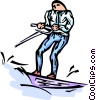 water-skier Vector Clip Art graphic