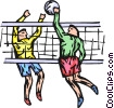Vector Clip Art graphic  of a Volleyball players