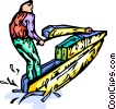 Vector Clip Art graphic  of a Person on a jet ski