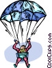 Vector Clipart image  of a skydivers
