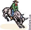 Bull rider Vector Clipart image
