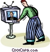 Vector Clip Art picture  of a man turning the TV channels