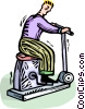Man on a stationary bicycle Vector Clip Art image