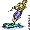 Vector Clipart image  of a man water-skiing