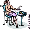 Vector Clip Art graphic  of a having a cup of coffee and a croissant