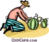 farmer tending to his watermelons Vector Clip Art picture