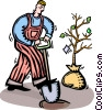 Vector Clipart illustration  of a Gardener planting a tree