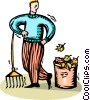 man raking leaves Vector Clip Art image