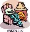 man sitting by the fire Vector Clip Art graphic