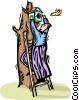 Vector Clipart image  of a man putting up a birdhouse