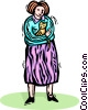 woman holding her cat Vector Clipart image