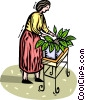 Vector Clipart graphic  of a woman tending to her potted