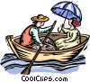 couple in a rowboat Vector Clip Art image