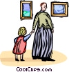 Vector Clipart image  of a Father and daughter at the art gallery