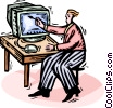 Vector Clip Art image  of a painting on a computer monitor screen
