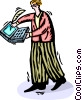 man working with a laptop/notebook computer Vector Clipart illustration