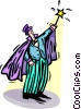 magician with a wand Vector Clip Art picture