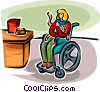 disabled woman in a wheelchair with a pet cat Vector Clipart picture