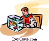 Vector Clipart graphic  of a boy with his goldfish in a