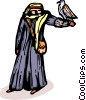 Vector Clipart graphic  of an Arabian man with his falcon